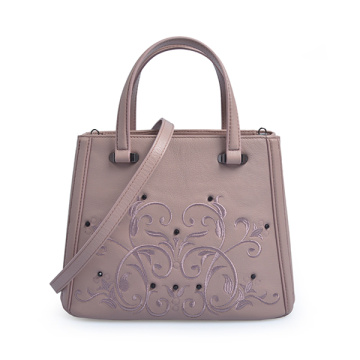 Shopper Medium Xbody in pelle di vitello rosa con doppia zip