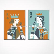 Zeitgenössische Schürhaken-Segeltuch-Wand-Kunst / Spielkarte Wand-Dekor / Königin und Königschatten Kasten-Rahmen-Segeltuch-Grafik