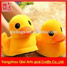Inverno quente bonito amarelo cor plush animal pato chinelos