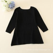 Niños vestidos de suéter CNY, suéter de punto negro de la muchacha, vestido de suéter de cuello redondo de manga larga de San Valentín