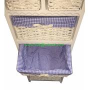 6 Drawer Wicker Storage Unit Wooden Baskets White Cabinet Furniture Bathroom