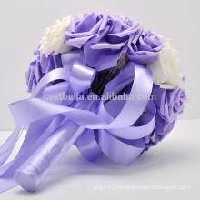 Высокое качество атласная оптовые продажи искусственных красивый свадебный букет
