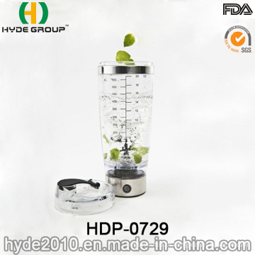 600ml BPA Free Vortex plástico agite o frasco, garrafa de proteína elétrico plástico portátil Shaker (HDP-0729)