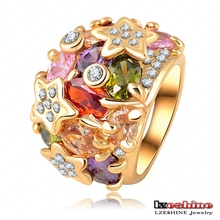 18k banhado a ouro colorido anéis para mulheres (ri-hq0010)