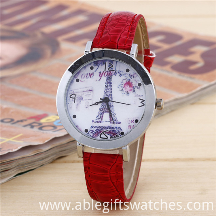 Eiffer Tower leather watch