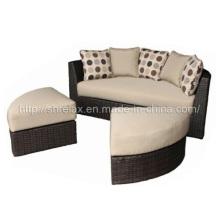 Rota al aire libre de mimbre de jardín muebles sofá seccional