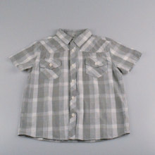 Cotton V-neck  Detached Hat Shirt Gray Check