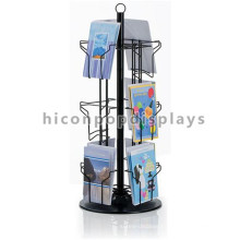 Counter Top 3-Tier Spinner Book Store Metal Sheet Base 12 Wire Pockets Postcard Display Racks