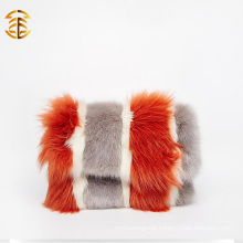 Bicolor Genuine Fox Fur Hand Bag OEM Wholesale