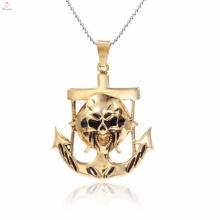 Retângulo encantos gótico banhado a ouro de aço inoxidável pingente de jóias