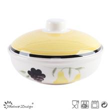 Pot à soupe peint en céramique 1000 cm3 Habd avec couvercle