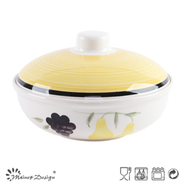1000cc Ceramic Habd Painted Soup Pot with Lid
