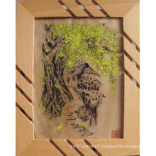 Bamboo Sculpture Colored Painting