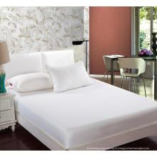 Hotel de calidad 100% algodón blanco rey reina cabido sábana (WSFI-2016022)