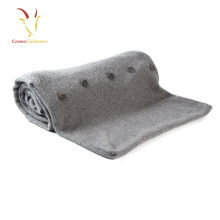 Soft Best Quality Knitted Cashmere Wool Baby Blanket with Button