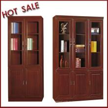 half glass door combination wooden shelves bookcase for boss