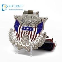 Wholesale personalized custom metal enamel eagle logo silver plated souvenir military medal