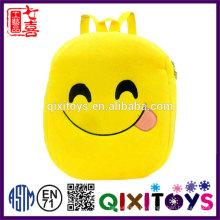 Gute Qualität Plüsch Rucksack niedlichen Design emoji Rucksack professionelle Produktion handgemachte Kinder emoji Rucksack