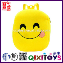 Good quality plush backpack cute design emoji backpack professional production handmade kids emoji backpack