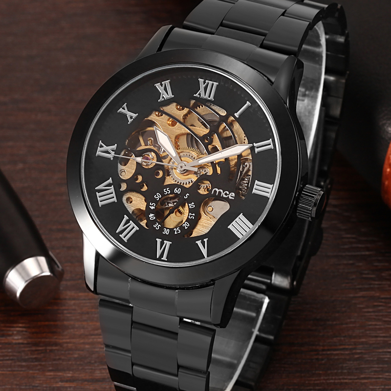 Black Black Steel Strap Skeleton Watch For Men