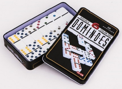 Plastic Double 6 Dominos In Tin Box