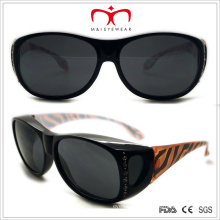 Plastic Ladies Suncover Sunglasses with Rhinestone (WSP508313)