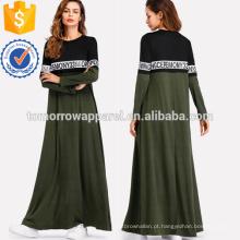 Dois tom carta impressão vestido de comprimento total manufatura atacado moda feminina vestuário (t3163d)