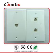 CE / ROHS / ISO Aprovado 1/2/4 Porta tipo EUA placa de parede cat 6 caixa de terminal de telefone