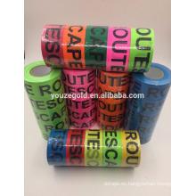 Cinta fluorescente de PVC con las palabras #ESCAPE ROUTE #