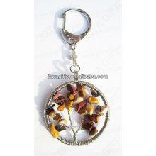 Roter Stein runder Form Edelstein keychain, Edelstein hängende Schlüsselringe, Stein Schlüsselkette-glückliche Schlüsselkette