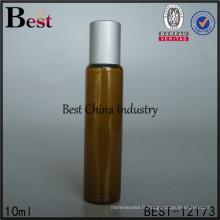 beautifol 10ml plat ambre verre à l'huile essentielle rouler sur le bouchon argent mat bouteille