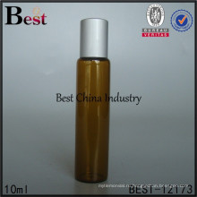 beautifol 10мл плоский янтарного эфирного масла стеклянные крен на бутылке матовой серебряной крышкой