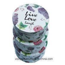 Beautiful Flower Printing Round Paper Box Rigid Nesting Round Hat Gift Boxes with Lid