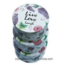 Прекрасная цветочная печать Круглый бумажный ящик Жесткие вложенные круглые подарочные коробки с крышкой