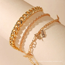 New Butterfly Chain Multi-Layer Anklet Golden Anklet Set of 3 Packs