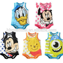 Hot sell 2016 100% cotton unisex cute triangle baby romper sleeveless cartoon organic baby romper for baby boyes and girls