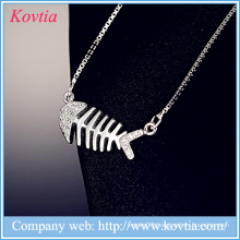 Jewelry yiwu 925 sterling sliver necklace white gold fishbone pendant box chains necklace