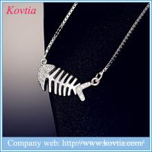 Ювелирные изделия yiwu 925 ожерелье стерлингового серебра ожерелья белого золота fishbone кулон ожерелье цепочки