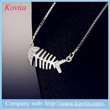 Jóias yiwu 925 colar de prata esterlina colar de ouro branco fishbone pingente colar de corrente cadeias