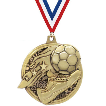 Crown's Soccer Medal With Antique Gold Finish