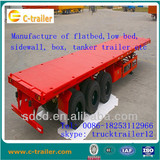 3 axles flatbed semi trailer for container                                                                         Quality Choice