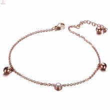 Popular Novo Design de Jóias de Ouro Rosa Jingle Bell Pulseira Tornozeleira Cadeia