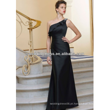 HB2044 Grace chiffon de seda preta reuniu cintura A linha de comprimento sem mangas comprimento zip ruffle frisado um ombro vestido de dama de honra