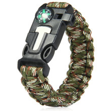 Hot! Outdoor Survival 550 Parachute Cord Buckle With Compass Flint Fire Starter Scraper Whistle for Hiking Camping manufactuer