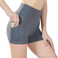 Shorts de Yoga de cintura alta com bolso lateral