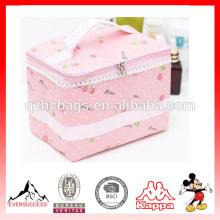 Bolsa de maquillaje, linda serie Pink Cosmetic Bag Organizer con estampado bonito para mujer
