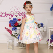 2015 New Arrival Fashion Colorful Prtined Bridesmaid Dress for Girls