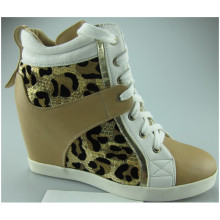 New Design Wedge High Heel Shoes with Leopard (S 31)