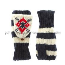 Gants / mitaines jacquard en acrylique tricotés avec poche