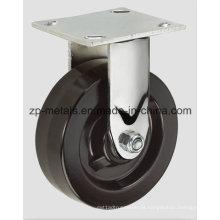 Roda de rodízio fixa de borracha de ferro resistente de 4 polegadas